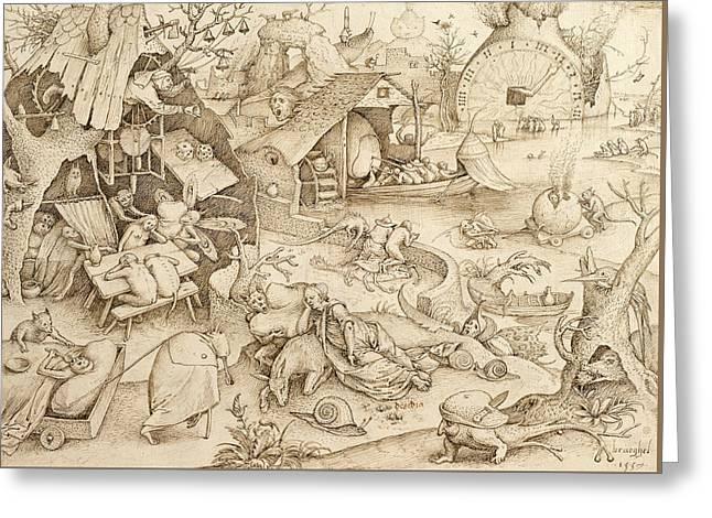 Desidia  Greeting Card by Pieter Bruegel the Elder