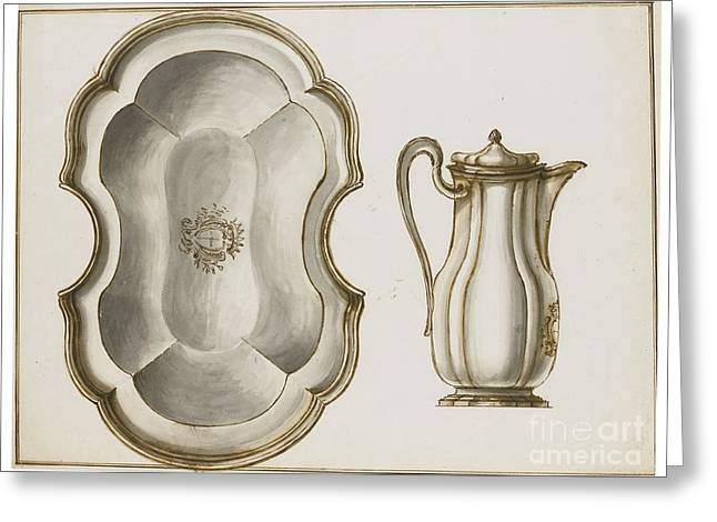 Design For A Shaving Dish And Ewer Greeting Card by MotionAge Designs