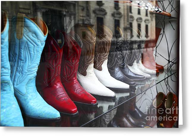 Designer Leather Boots For Sale Greeting Card by James Brunker