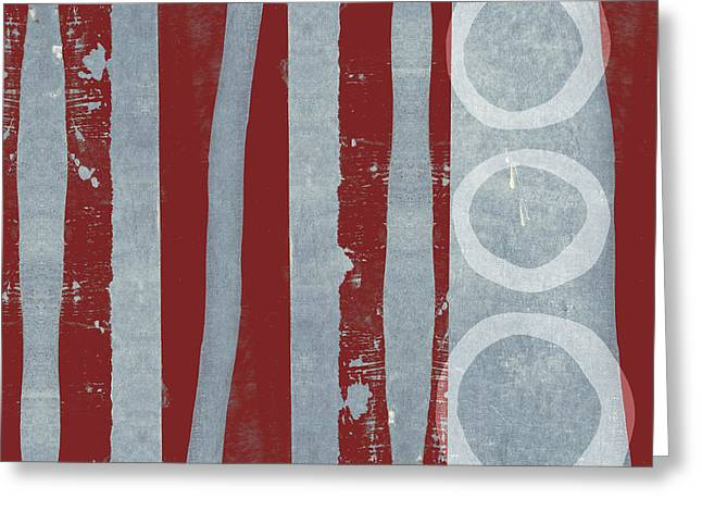 Designer Series Red And Blue 7 Of 11 Greeting Card by Carol Leigh