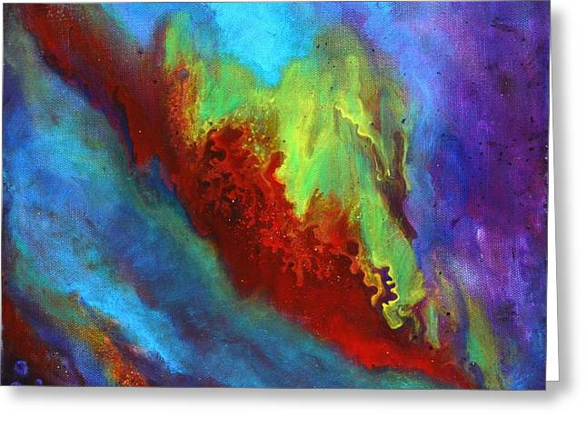 Desire A Vibrant Colorful Abstract Painting With A Glittering Center  Greeting Card