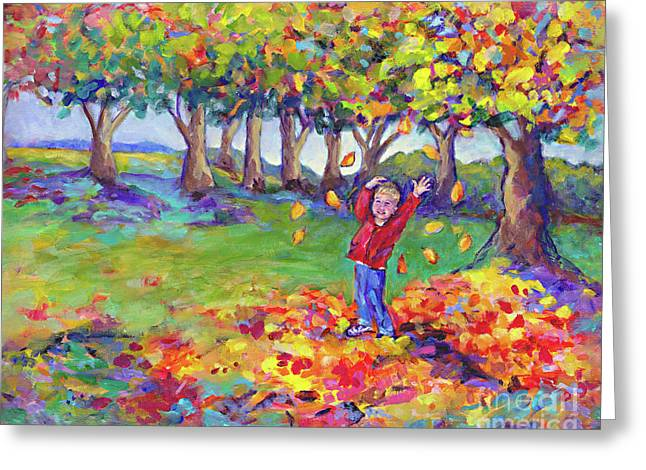 Hurrah For Fall By Peggy Johnson Greeting Card