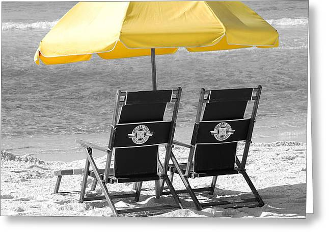 Destin Florida Beach Chairs And Yellow Umbrella Square Format Color Splash Black And White Greeting Card by Shawn O'Brien