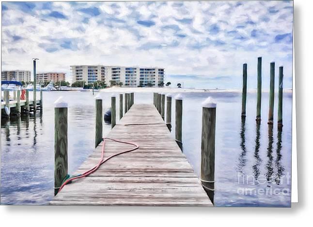 Greeting Card featuring the photograph Destin Harbor Marina # 2 by Mel Steinhauer