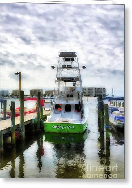 Destin Harbor Marina Greeting Card by Mel Steinhauer