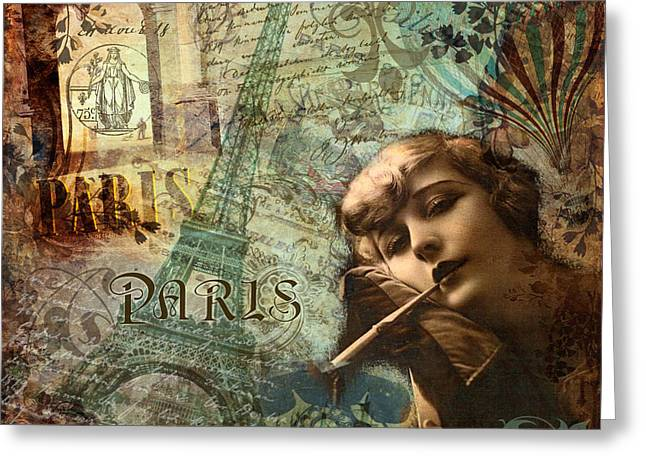 Destination Paris Greeting Card by Mindy Sommers