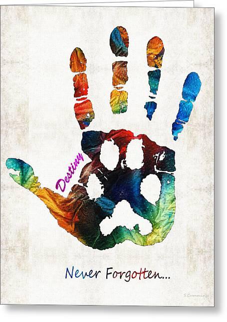 Custom Dog Memorial Rainbow Bridge Paw Print By Sharon Cummings Greeting Card by Sharon Cummings