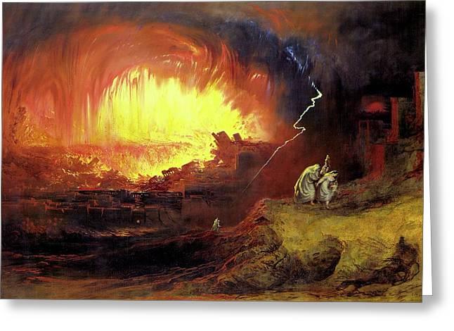 Destruction Of Sodom And Gomorah Greeting Card