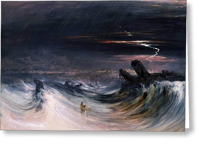 Destruction Of Tyre Greeting Card by John Martin
