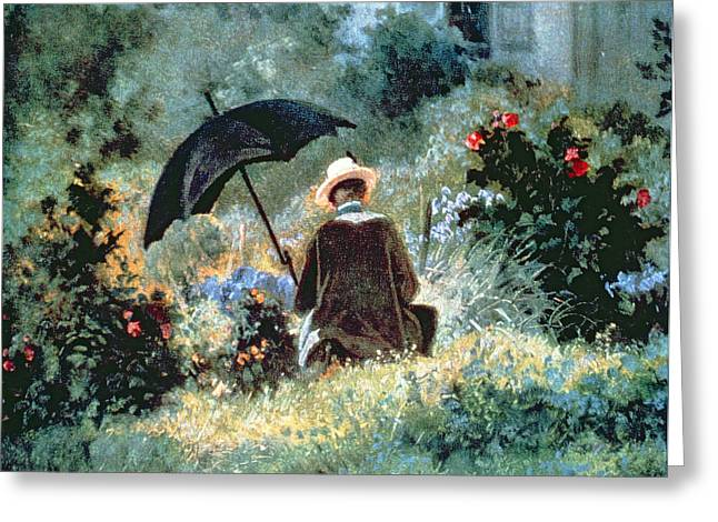 Detail Of A Gentleman Reading In A Garden Greeting Card