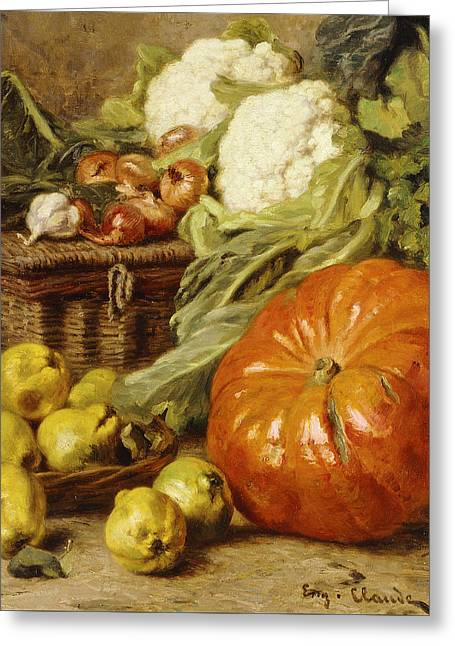 Detail Of A Still Life With A Basket, Pears, Onions, Cauliflowers, Cabbages, Garlic And A Pumpkin Greeting Card