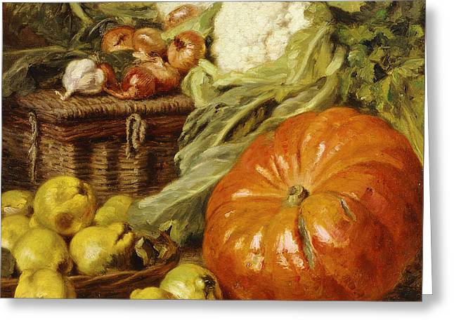 Detail Of A Still Life With A Basket, Pears, Onions, Cauliflowers, Cabbages, Garlic And A Pumpkin Greeting Card by Eugene Claude