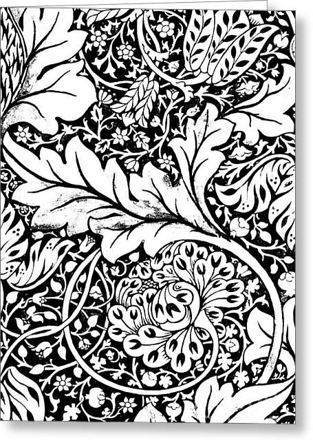 Detail Of A Vintage Textile Pattern Design By William Morris Greeting Card