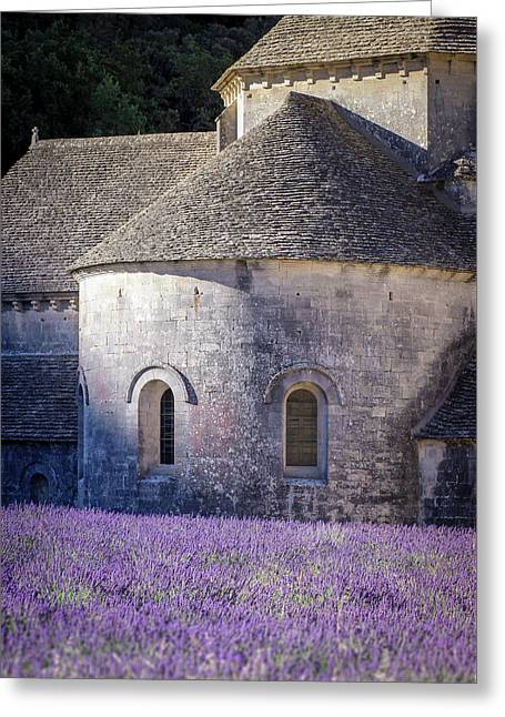 Detail Of Abbaye Senanque, Church In Provence, Southern France, Surrounded By Lavender Greeting Card