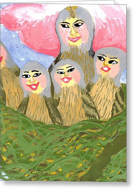 Detail Of Bird People The Chaffinch Family Nest Greeting Card by Sushila Burgess
