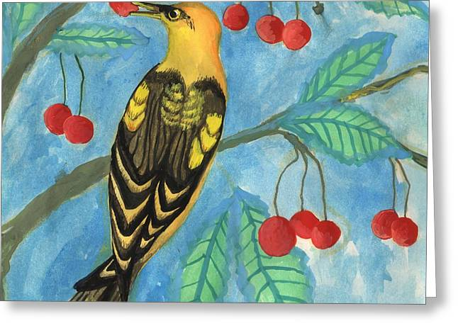 Detail Of Golden Orioles In A Cherry Tree Greeting Card by Sushila Burgess