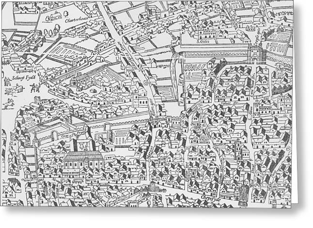 Detail Of London Wall East Of Smithfield From Civitas Londinium Greeting Card