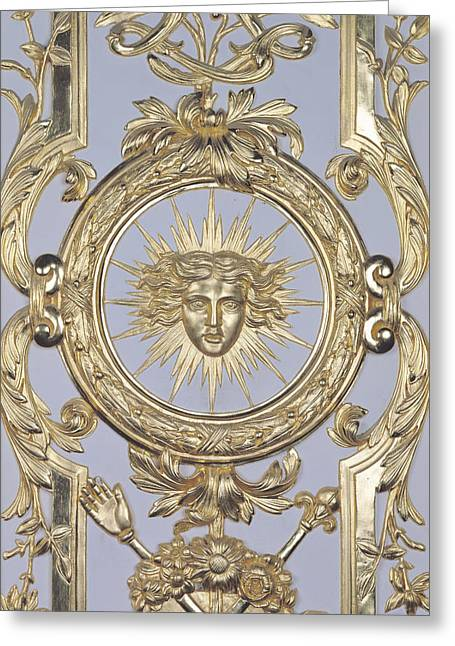 Detail Of Panelling Depicting The Emblem Of Louis Xiv From Versailles Greeting Card by Charles Le Brun