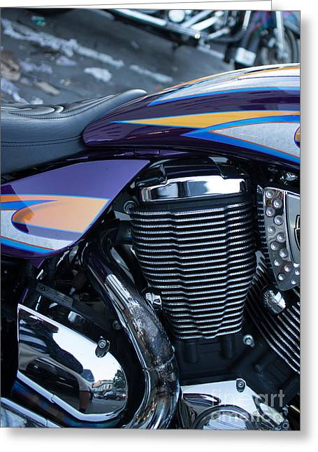 Detail Of Shiny Chrome Cylinder And Engine On Cruiser Motorcycle Greeting Card by Jason Rosette