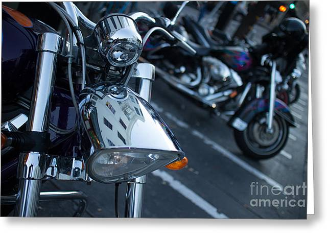Detail Of Shiny Chrome Headlight On Cruiser Style Motorcycle Greeting Card by Jason Rosette