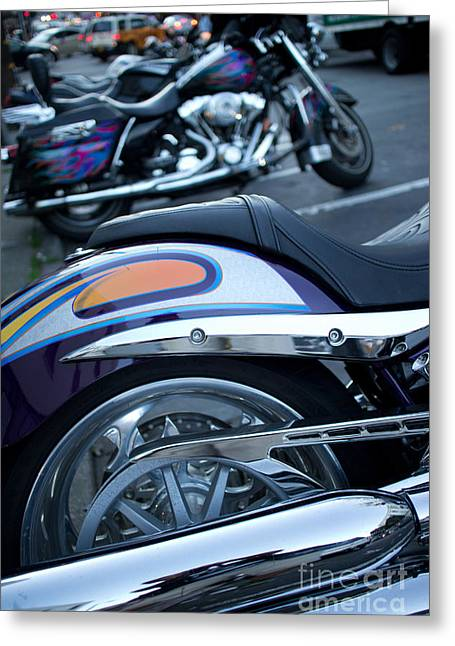 Detail Of Shiny Chrome Tailpipe And Rear Wheel Of Cruiser Style  Greeting Card by Jason Rosette