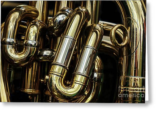 Detail Of The Brass Pipes Of A Tuba Greeting Card
