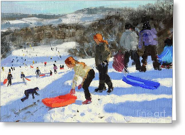 Detail Of The Red Sledge, Allestree Park, Derby Greeting Card by Andrew Macara
