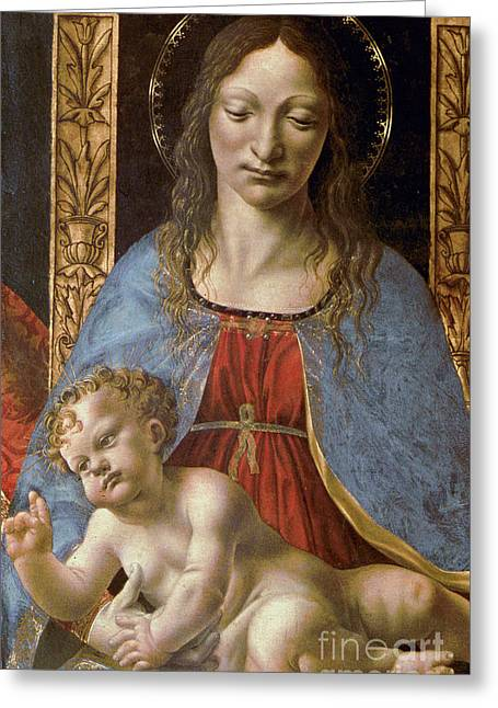 Detail Of The Sforza Altarpiece, Madonna And Child Enthroned Greeting Card by Master of the Pala Sforzesca
