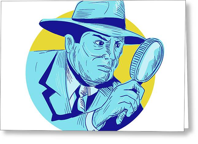 Detective Holding Magnifying Glass Circle Drawing Greeting Card by Aloysius Patrimonio