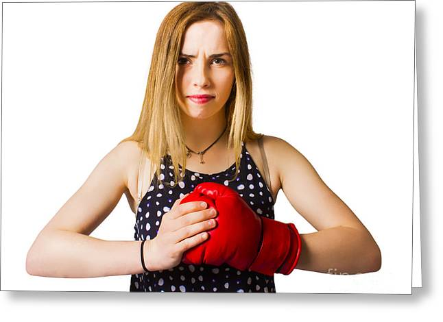 Determined Fitness Girl On White Background Greeting Card