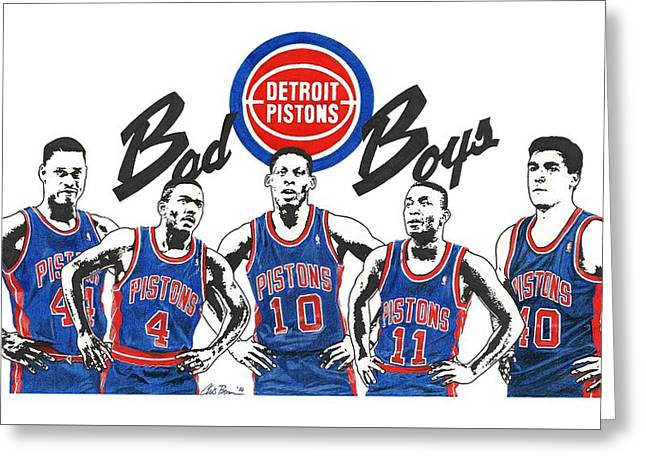 Detroit Bad Boys Pistons Greeting Card