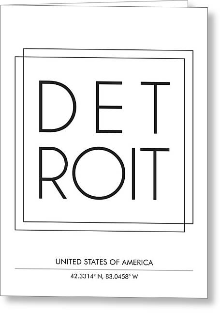 Detroit City Print With Coordinates Greeting Card