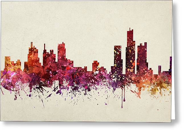 Detroit Cityscape 09 Greeting Card by Aged Pixel