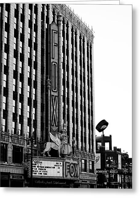 Detroit Fox Theatre Black And White Greeting Card