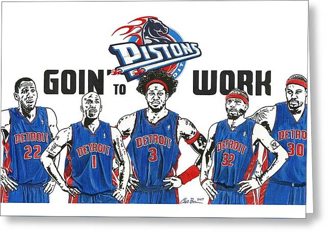 Detroit Goin' To Work Pistons Greeting Card