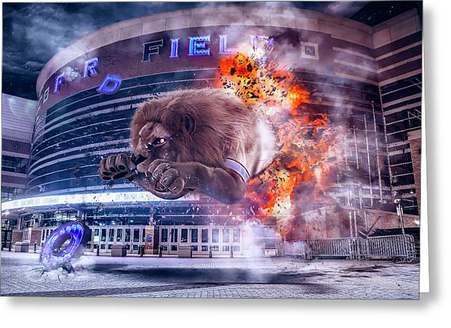 Greeting Card featuring the photograph Detroit Lions At Ford Field 2 by Nicholas Grunas