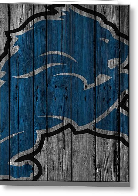 Detroit Lions Wood Fence Greeting Card
