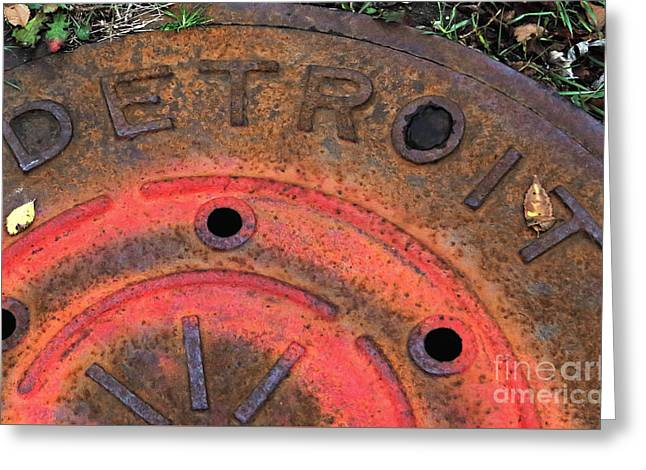 Detroit Manhole Cover Spray Painter Red Greeting Card by Sandra Church
