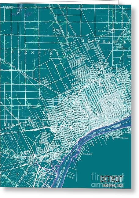 Detroit Michigan 1905 Green Old Map Greeting Card by Pablo Franchi