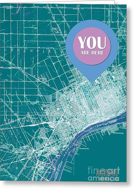 Detroit Michigan 1905 Green Old Map Your Are Here Greeting Card by Pablo Franchi