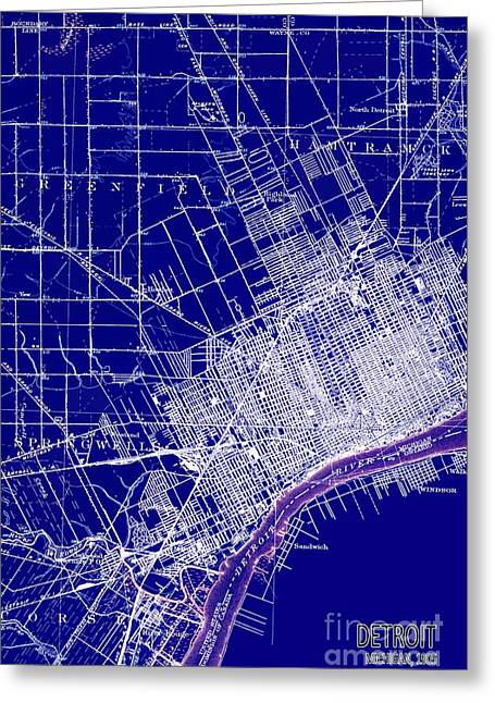 Detroit Michigan 1905 Old Map Blue Greeting Card by Pablo Franchi