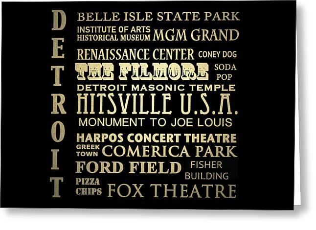 Detroit Michigan Famous Landmarks Greeting Card