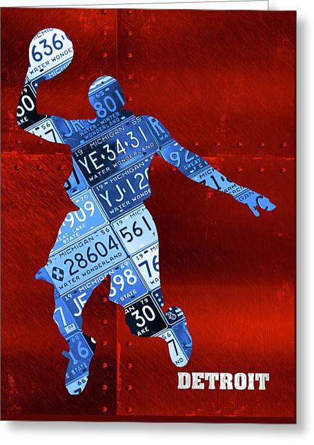 Detroit Pistons Basketball Player Recycled Michigan License Plate Art Greeting Card