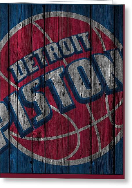 Detroit Pistons Wood Fence Greeting Card