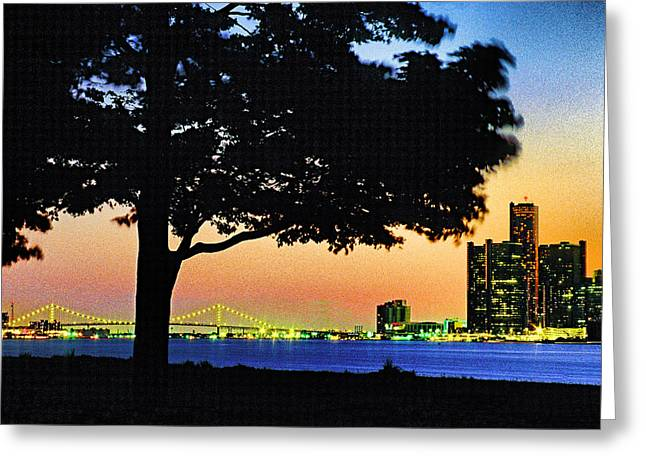 Detroit River View Greeting Card by Dennis Cox WorldViews