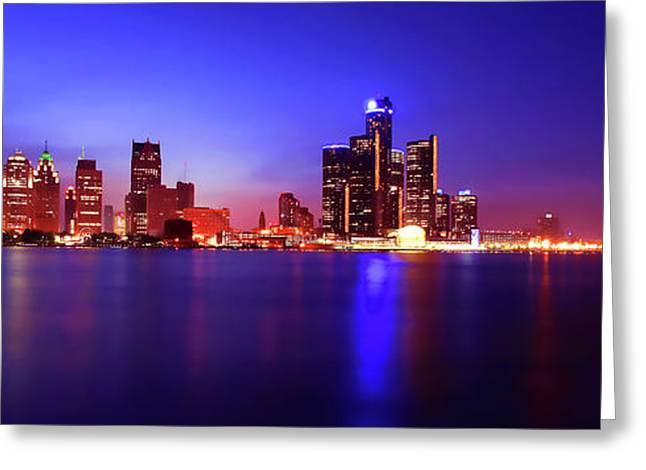 Detroit Skyline 3 Greeting Card