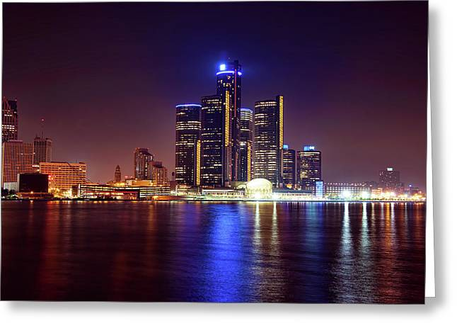 Detroit Skyline 4 Greeting Card