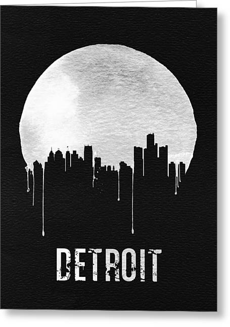 Detroit Skyline Black Greeting Card