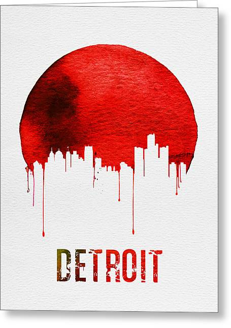 Detroit Skyline Red Greeting Card