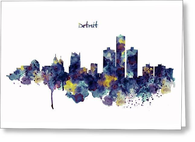 Detroit Skyline Silhouette Greeting Card